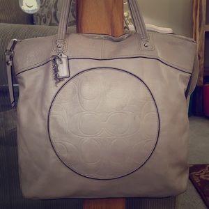 💕 Coach gray leather large satchel bag 💕